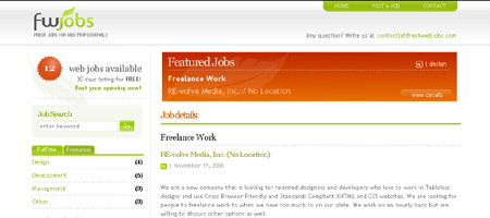 Fresh Web Jobs